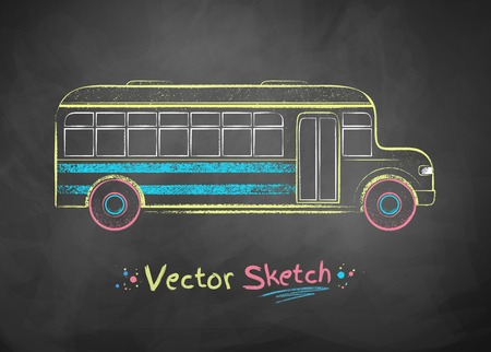 school illustration: Color vector chalk drawing of school bus.