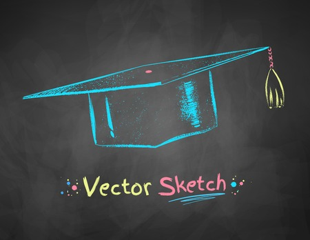 mortarboard: Color chalk drawn vector illustration of mortarboard on school blackboard background.