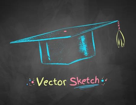 Color chalk drawn vector illustration of mortarboard on school blackboard background.