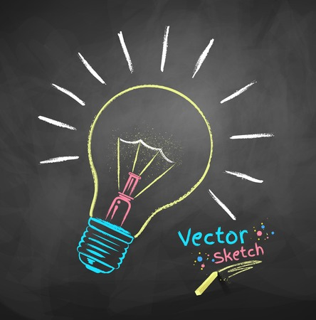 yellow bulb: Vector color chalk drawing of light bulb.