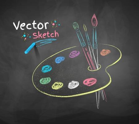 painter palette: Vector color chalk drawing of paint palette.