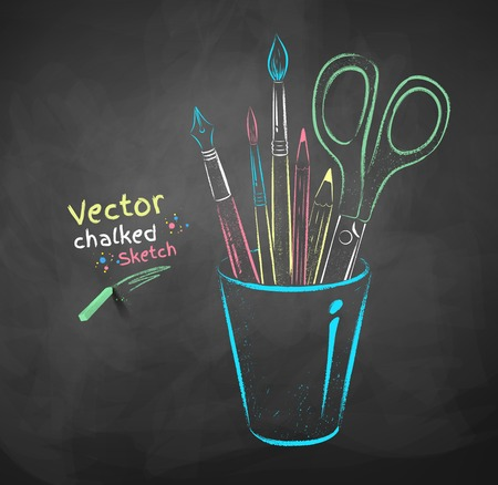 Vector color chalk drawing of art tools in holder. Illusztráció