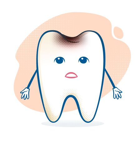 sorrowful: Vector illustration of sick sorrowful cartoon tooth character. Illustration