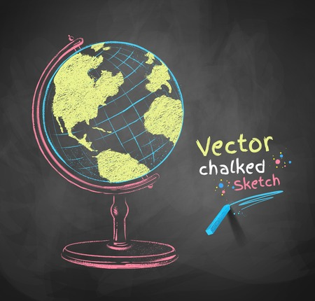 geography background: Chalk drawn vector illustration of globe.