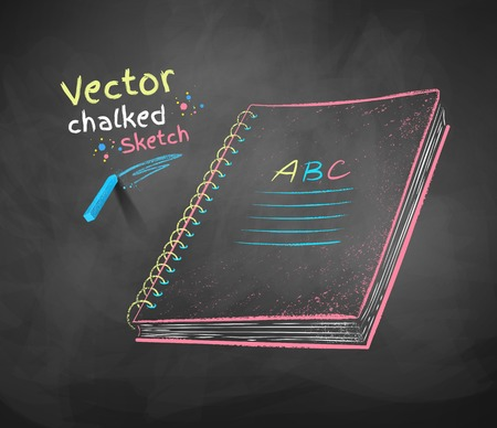 chalk drawing: Color vector chalk drawing of school notebook.