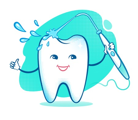 pediatrics: Vector illustration of happy cartoon tooth character with irrigator.