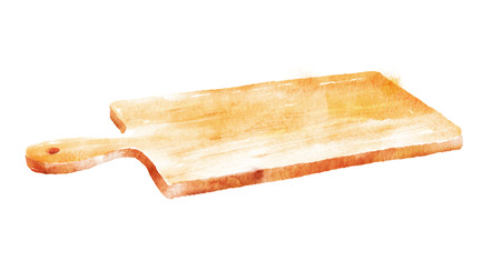 Hand drawn watercolor illustration of kitchen cutting board.