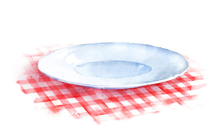 Hand drawn watercolor illustration of plate on red checkered tablecloth.