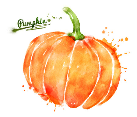 Watercolor hand drawn illustration of pumpkin with paint splashes.