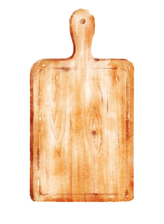 Watercolor hand drawn illustration of kitchen cutting board.