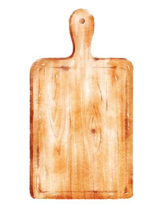 cutting board: Watercolor hand drawn illustration of kitchen cutting board.