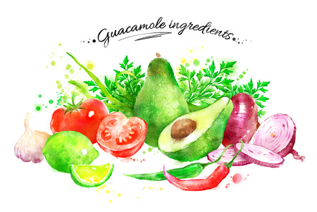 seasoning: Hand drawn watercolor illustration of still life with vegetables - guacamole ingredients.