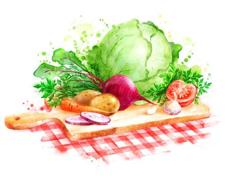 Hand getekende aquarel illustratie van het stilleven met groenten - Borscht soep ingrediënten tot op houten snijplank op rood geruit tafelkleed.