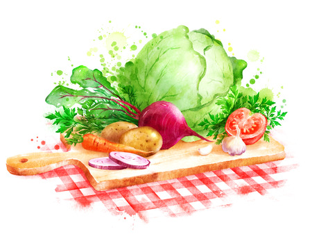 Hand drawn watercolor illustration of still life with vegetables - Borscht soup ingredients laying on wooden cutting board on red checkered tablecloth.