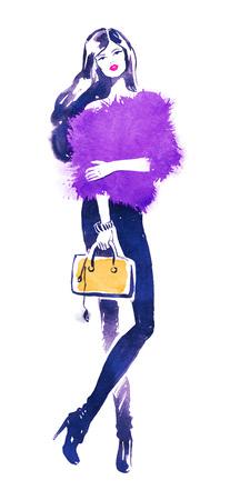 fashion model: Fashion model with yellow bag. Watercolor fashion illustration. Stock Photo