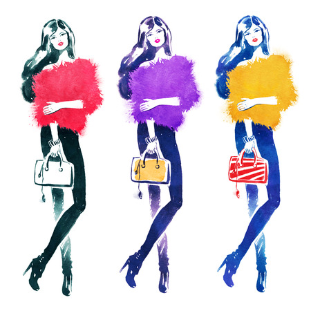 Hand drawn watercolor set. Fashion model with bag.
