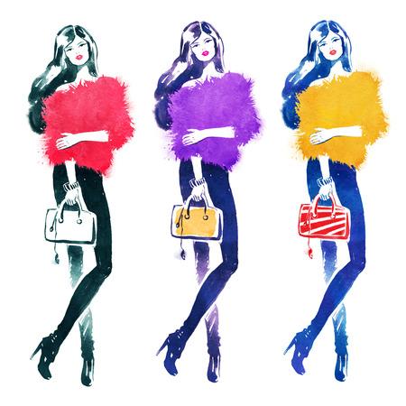 fashion model: Hand drawn watercolor set. Fashion model with bag.