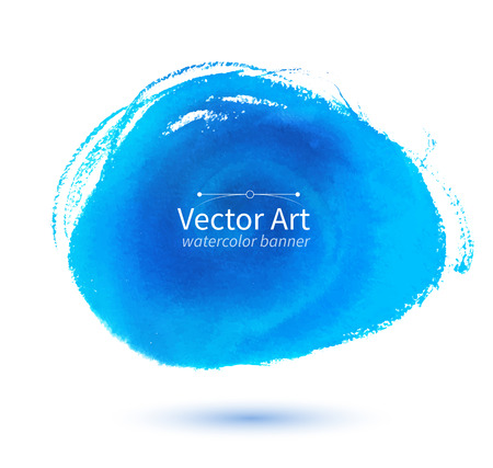 blots: Vector watercolor blue hand drawn stain.