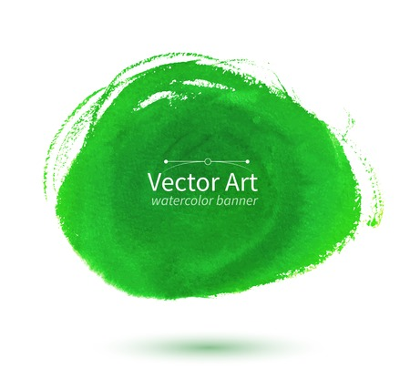 Vector watercolor green hand drawn stain.