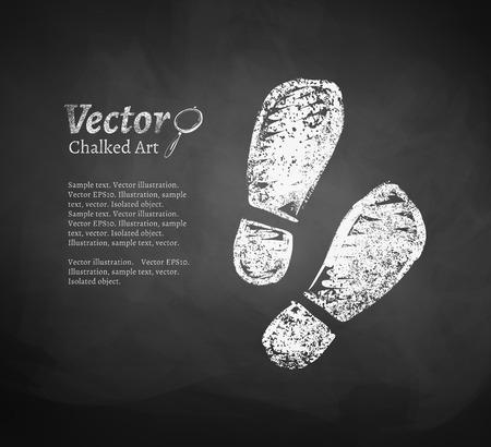 huellas: Vector pizarra de dibujo de huellas. Vectores