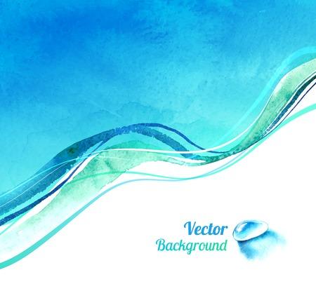 Aquarel vector achtergrond met golven en water neerzetten.