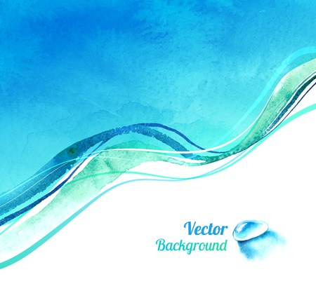 Watercolor vector background with waves and water drop. Çizim