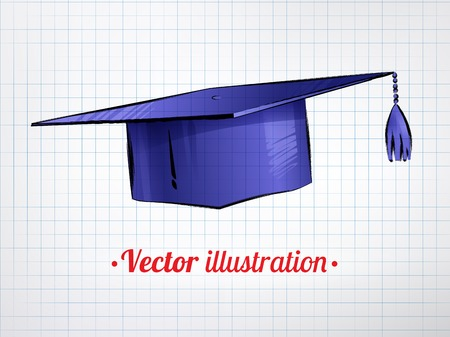 Hand drawn color vector illustration of mortarboard on notebook checkered paper background.