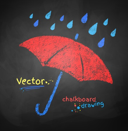 red umbrella: Color chalked vector illustration of rain drops and red umbrella. Illustration