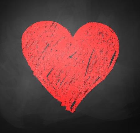 Kids color chalked drawing of heart on school blackboard background.
