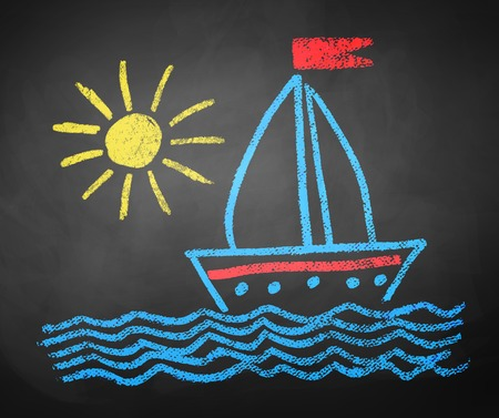 Kids color chalked drawing of seaside, ship and sun on school blackboard background. Stock Illustratie