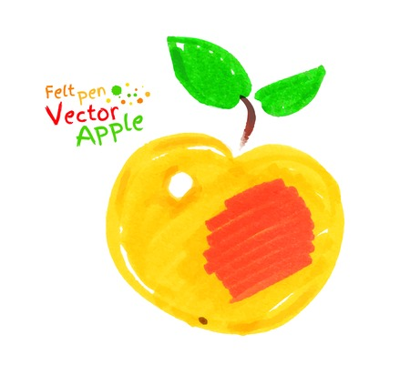 child drawing: Felt pen vector child drawing of yellow apple with leaves. Illustration