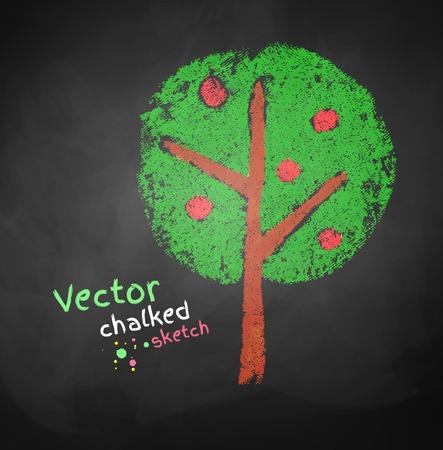 Kids chalked drawing of apple tree. Ilustrace