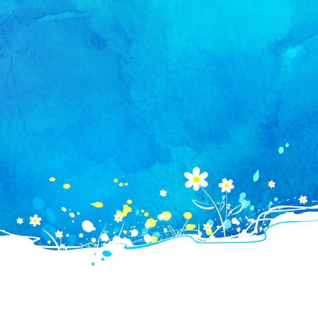 Blue vector background with flowers and watercolor texture.