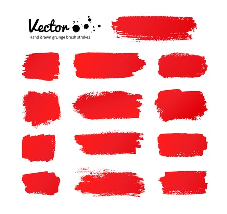 Vector grunge red paint brush strokes.