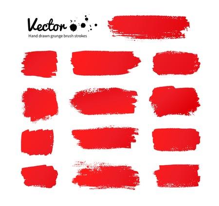 cepillo: Vector grunge pinceladas de pintura roja.