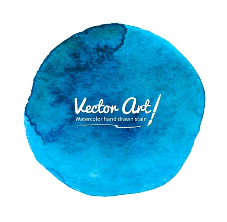 Watercolor vector blue circle with smudges. Illustration