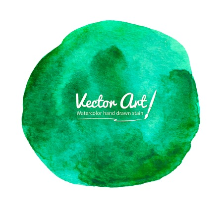smudges: Watercolor vector green circle with smudges.