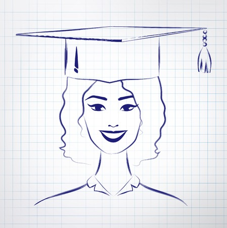 alumni: Student girl wearing graduation hat. Vector hand drawn sketch on notebook background. Illustration