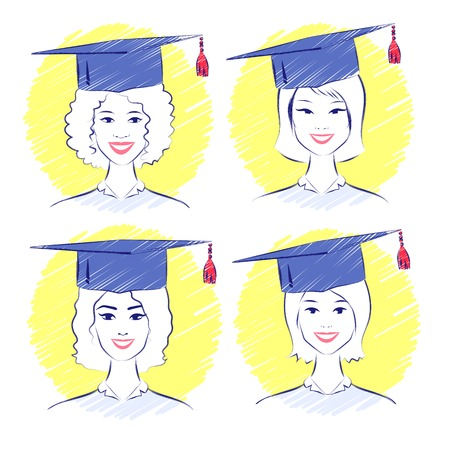 alumni: Vector set of smiling young women wearing graduation cap. Illustration