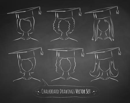 birrete: Colección de vector de dibujos de la pizarra de los estudiantes que desgastan el casquillo de la graduación.