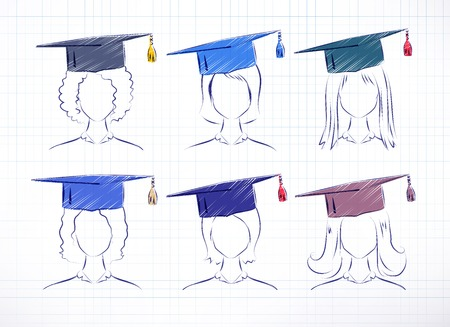 alumni: Female students wearing graduation hat. Color and line art vector hand drawn set.