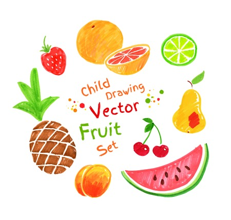 Felt pen vector childlike drawings of fruit.