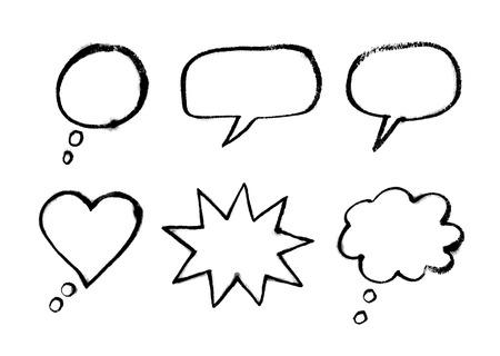 talks: Hand drawn line art watercolor bubble talks.