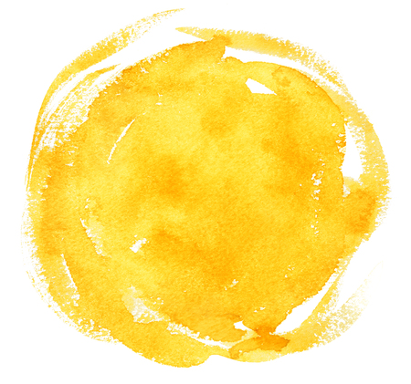 Yellow hand painted watercolor background with brush strokes.
