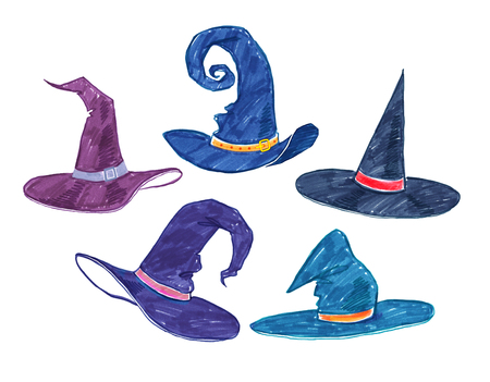 witch hat: Collection of felt tip pen childlike drawings of witch hats.
