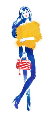 fashion model: Fashion model with red bag. Watercolor fashion illustration. Stock Photo