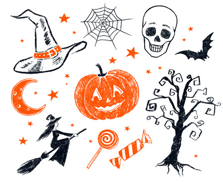 two objects: Collection of two color black and orange pencil drawing of Halloween characters and objects.