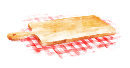 cutting board: Watercolor hand drawn illustration of kitchen cutting board on red checkered tablecloth.