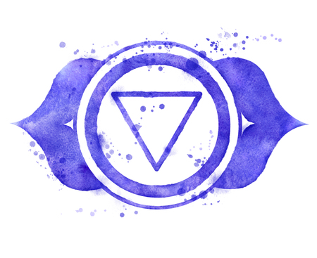 Watercolor illustration of Ajna chakra symbol with paint splashes.