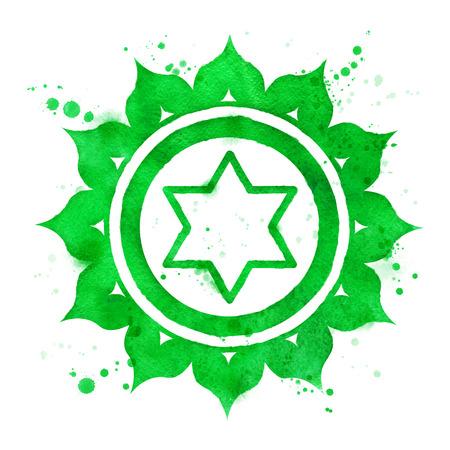 Aquarel illustratie van Anahata chakra symbool met verf spatten.
